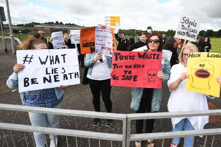 Protestors at one of the schools. Picture: John Devlin