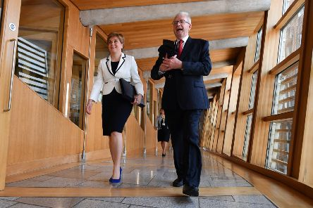Nicola Sturgeon and constitutional affairs spokesman Mike Russell ahead of a statement on a possible future referendum