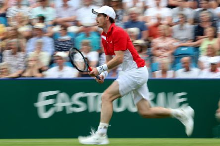 Andy Murray sprints to chase down a ball at Eastbourne. Picture: Bradley Collyer/PA Wire