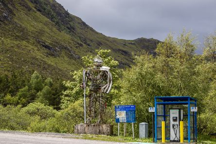 An electric car charging point at Glencoe Mountain Sports at Kingshouse, Ballachulish (Picture: SWNS)