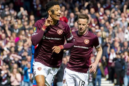 Sean Clare, left, was on target in Hearts' victory, as was striker Steven MacLean. Picture: SNS.