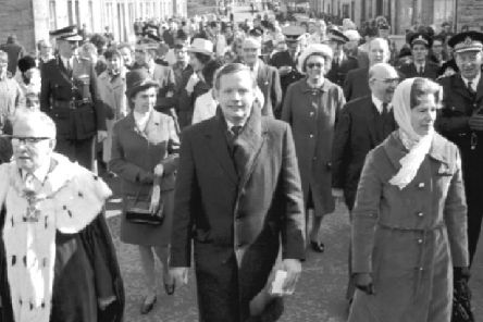 US Apollo astronaut Neil Armstrong receives the Freedom of the Burgh at Langholm in the Borders in March 1972. PIC: TSPL