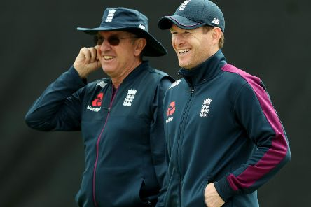 England head coach Trevor Bayliss, left, and captain Eoin Morgan at a nets session. Picture: David Rogers/Getty
