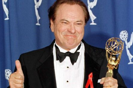 Rip Torn gives the thumbs up as he holds his Emmy Award for for his role as Arthur in the The Larry Sanders Show. Picture: AFP/Getty