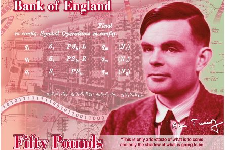 A concept of the new Bank of England �50 note featuring World War II code-breaker Alan Turing. Picture: Bank of England/PA Wire