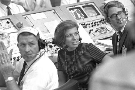 Nasa trailblazer JoAnn Morgan watches the launch of Apollo 11 at Cape Canaveral (NASA via AP)