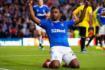 Alfredo Morelos celebrates scoring Rangers' second.