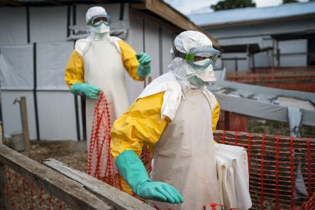 Health workers tackling the Ebola outbreak at a treatment centre in the Democratic Republic of Congo