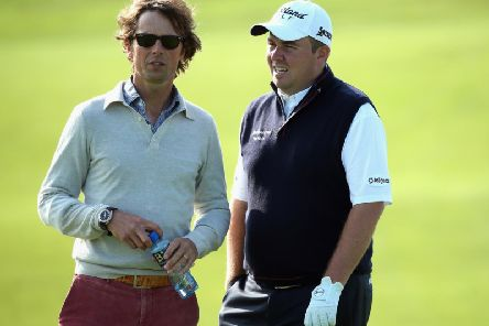 Neil Manchip, left, with Shane Lowry at Carton House in 2013