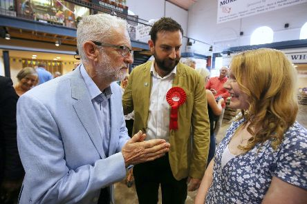 Labour leader Jeremy Corbyn speaks to people during a visit to Scarborough Public Market to discuss the impact of a no-deal Brexit on food bills. PRESS ASSOCIATION