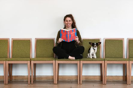 Caroline Criado Perez with her new book, Invisible Women: Exposing Data Bias in a World Designed For Men, and her dog Poppy.  Picture: John Devlin