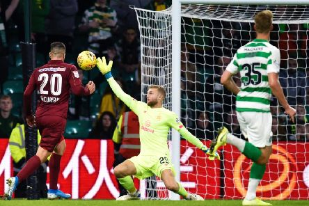 Scott Bain in action for Celtic against Cluj
