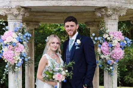 Pc Andrew Harper and his wife Lissie celebrate their wedding day