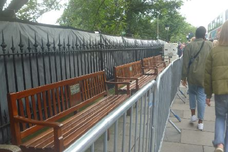 Benches are off-limits for commercial reasons. Photograph: Juliet Wilson