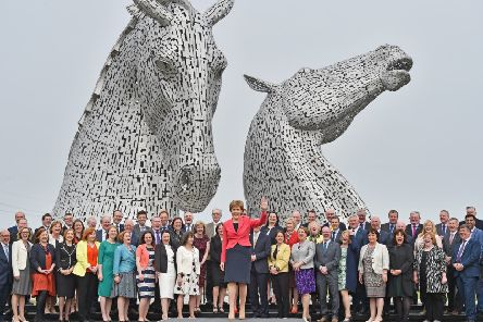 Sturgeon at The Kelpies in Falkirk with 63 MSPs, 27 of them women, after losing her majority in the 2016 election. Picture: Jeff J Mitchell/Getty