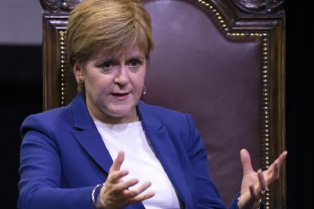 Scotland's First Minister Nicola Sturgeon on stage as she is interviewed by journalist Graham Spiers, during an Edinburgh Festival discussion event at The Stand's New Town Theatre, Edinburgh. Picture: Jane Barlow/PA Wire