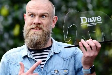 Olaf Falafel with his award for Dave's Funniest Joke at the Fringe. Picture: UKTV Dave/Martina Salvi