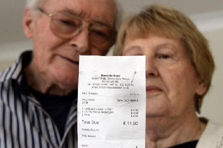 "An elderly couple have spoken of their ""disgust"" after a hotel waiter described them as 'old people' on their drinks bill. Picture: SWNS"