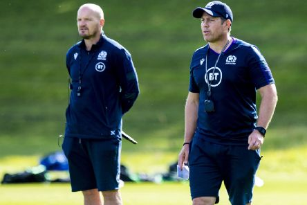 Scotland defence expert Matt Taylor, right, with head coach Gregor Townsend. Picture: Craig Williamson/SNS
