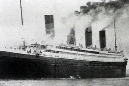 A black-and-white image of the Titanic's maiden and only voyage