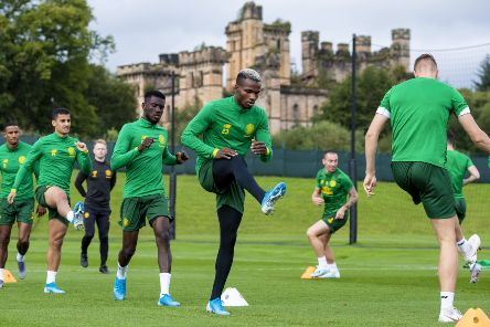 Boli Bolingoli, centre, has been training well ahead of the Europa League play-off against AIK, according to Celtic manager Neil Lennon. Picture: Craig Williamson/SNS