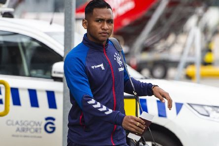 Rangers striker Alfredo Morelos departs for Poland ahead of the Europa League tie against Legia Warsaw. Picture: Ross MacDonald/SNS