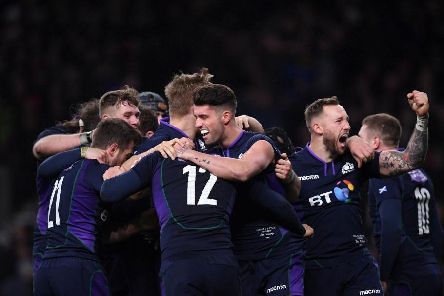 Sam Johnson of Scotland is congratulated by Adam Hastings and Byron McGuigan after scoring the fifth try during the Guinness Six Nations match between England and Scotland in March 2019 (Photo: Laurence Griffiths/Getty Images)