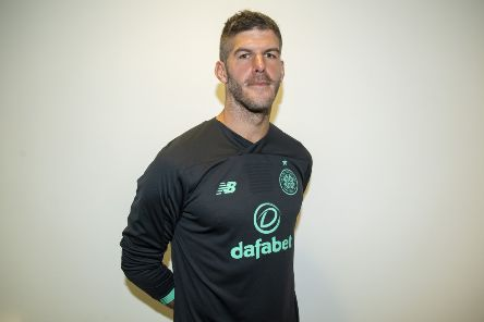 Celtic goalkeeper Fraser Forster is pictured at Celtic Park after re-signing for the club. Picture: SNS