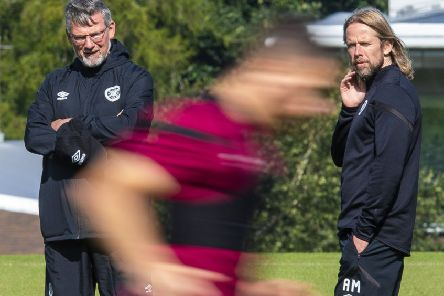 Hearts manager Craig Levein oversees training with assistant Austin MacPhee. Picture: SNS