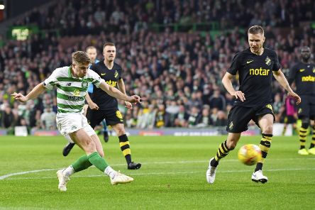 James Forrest scores the opener. Picture: SNS