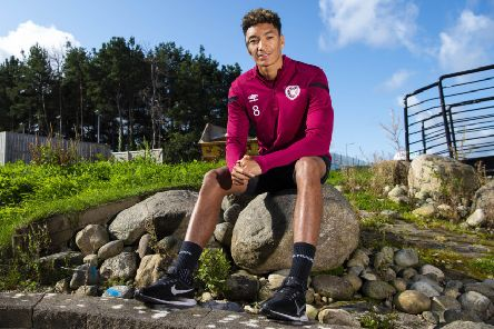 Sean Clare takes time out from a Hearts training session at the Oriam to discuss their Premiership match against Celtic. Picture: SNS.