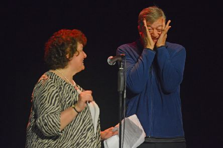 Stephen Fry gets embarrassed when the audience sing Happy Birthday to him. Picture: TSPL