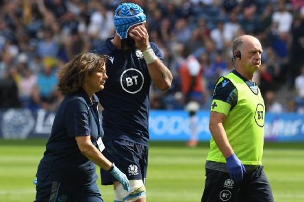 Scotland's Blade Thomson had to come off with an injury. Picture: SNS