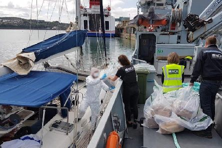 Investigators with the National Crime Agency raided the vessel at Fishguard port in Pembrokeshire, in what is believed to be one of the biggest drugs busts carried out by them in recent years. Picture: PA