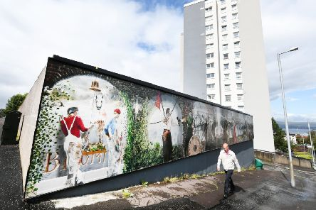A mural in Broomhill, Greenock, by local artist Jim Strachan. Picture: John Devlin