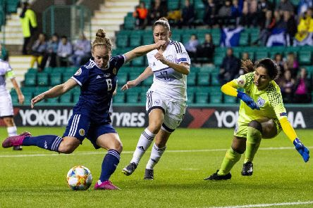 Kim Little scores her third goal of five as Scotland eased to a 8-0 Euro 2021 qualifying win over Cyprus at Easter Road. Picture: Ross MacDonald/SNS