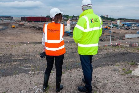 Keepmoat's Beth McNeil with Glasgow Kelvin College principal Derek Smeall at the Sighthill development in Glasgow. Picture: Contributed