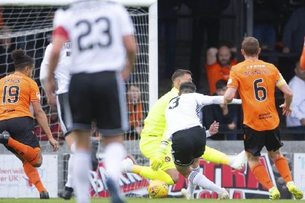 Daniel Harvie fires home to make it 1-0 for Ayr United against the league leaders.  Photograph:Garry Williamson/SNS Group