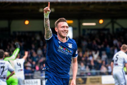 Dundee's Jordan McGhee celebrates his goal. Picture: Ian Georgeson/SNS Group)