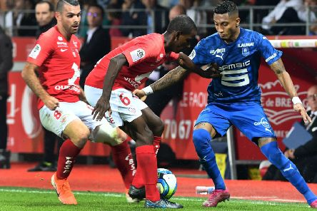 Rennes' Brazilian forward Raphinha, right, in action against Brest.  Picture: AFP/Getty Images