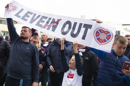 Hearts fans outside Tynecastle demand Craig Levein's head after losing 3-2 to Motherwell. Picture: SNS