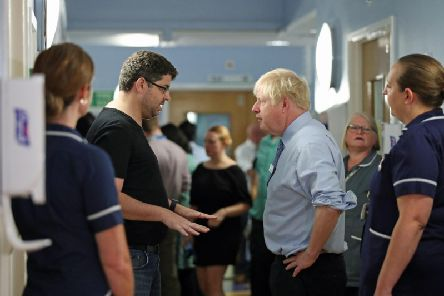 Prime Minister Boris Johnson was confronted by a furious father during a hospital visit. Picture: PA