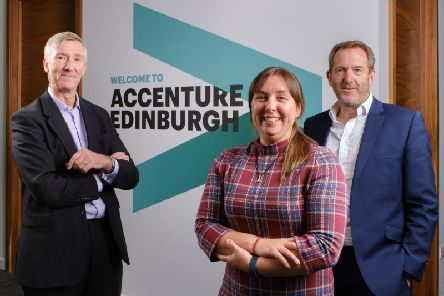 From left: Olly Benzecry, Michelle Hawkins and Les Bayne of Accenture. Picture: contributed.