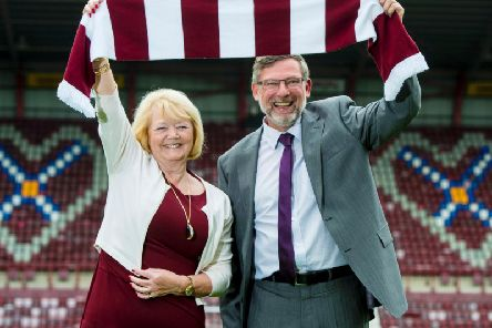 Hearts owner Ann Budge with manager Craig Levein.