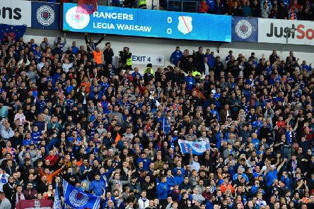 A general view of Rangers fans during the Europa League play-off round clash with Legia Warsaw