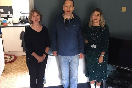 Melville Housing Association's Morag MacDonald (left) and Amber Law of Novus with tenant Andrew Hiddleston who took part in the pilot project