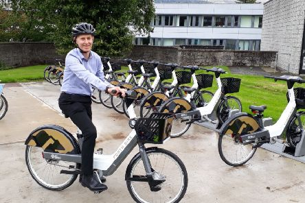 Alastair Dalton tries out a Forth Bikes electric bike at Stirling University. Picture: The Scotsman