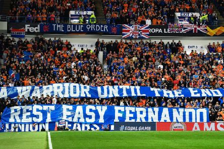 Rangers fans display their banner. Picture: SNS