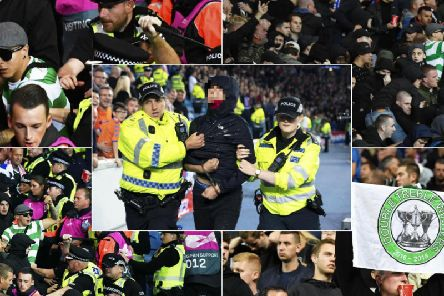 Feyenoord fans, including one wearing a Celtic shirt, clash with police at Ibrox while another supporter is removed from the stadium by police