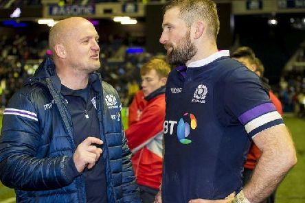 Scotland coach Gregor Townsend and co-vice captain John Barclay are anticipating a huge physical battle against Ireland on Sunday. Picture: SRU/SNS